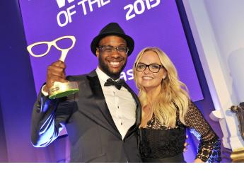 Spectacle Wearer of the Year winner James Adenrele pictured with Emma Bunton